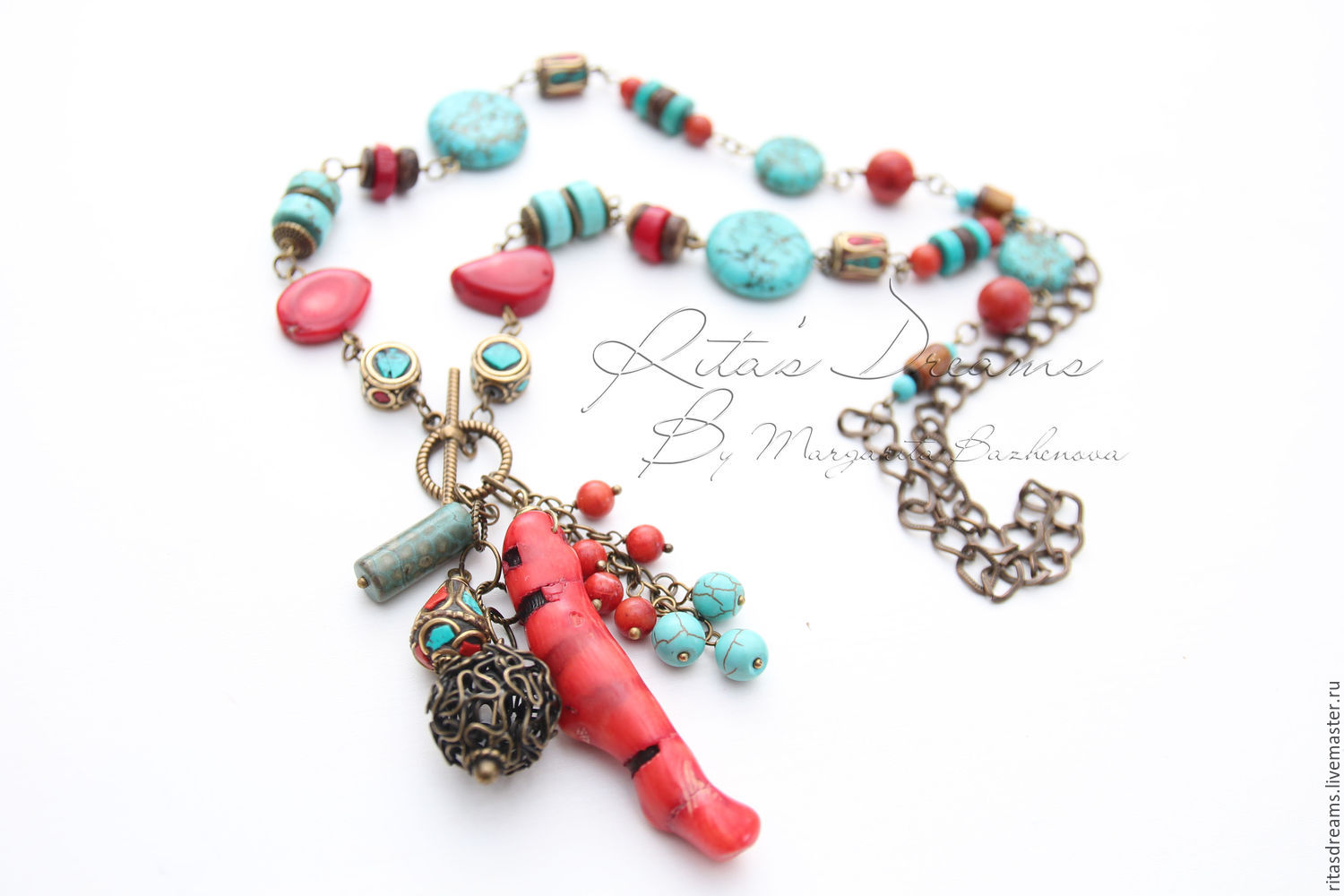 Long chain necklace with gorgeous coral, Tibetan beads inlaid with coral and turquoise, coconut and turquoise beads and howlite, tinted turquoise.