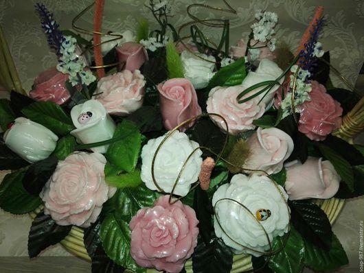 Мыло ручной работы. Ярмарка Мастеров - ручная работа. Купить корзина из 21 мыльной  розы. Handmade. Комбинированный, корзина