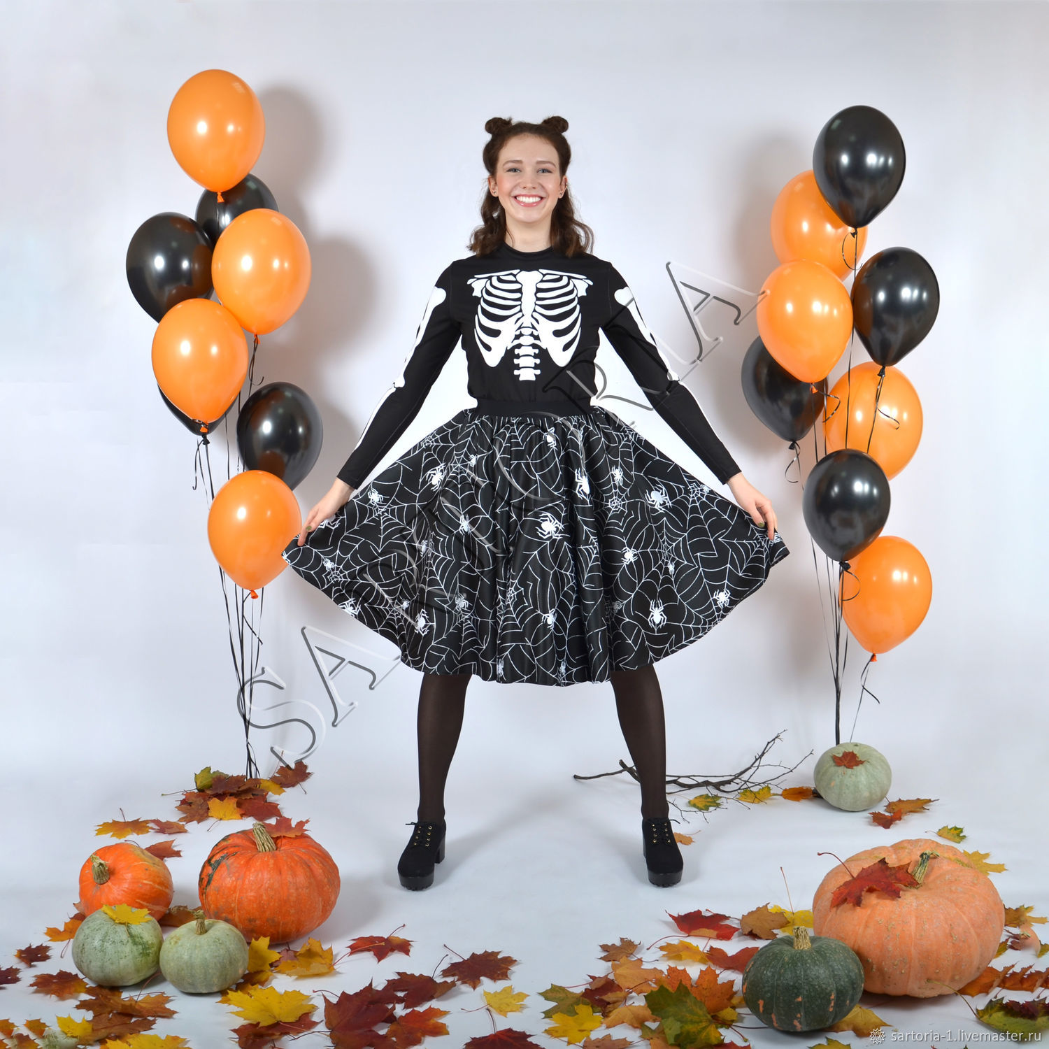 Skirt-the sun 'Web' for Halloween, longsleeve with a skeleton, Skirts, Moscow,  Фото №1