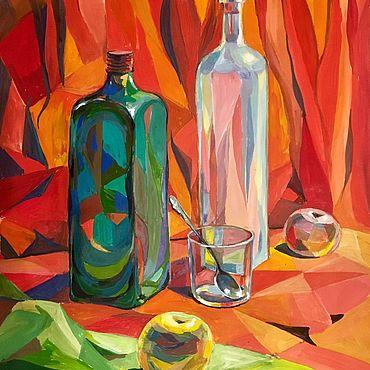 Картины и панно. Ярмарка Мастеров - ручная работа Картина натюрморт авторская работа Бутылки. Handmade.
