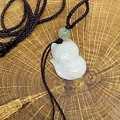 Украшения handmade. Livemaster - original item White Fox Kitsune Pendant (Jade). Handmade.