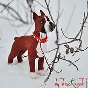 Куклы и игрушки ручной работы. Ярмарка Мастеров - ручная работа Немецкий боксер Бакс - валяная собака из шерсти ( войлочная игрушка). Handmade.