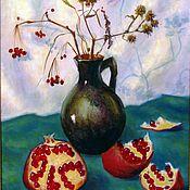 Картины и панно ручной работы. Ярмарка Мастеров - ручная работа Ваза и гранаты. Холст, масло,40 х50 см. Handmade.