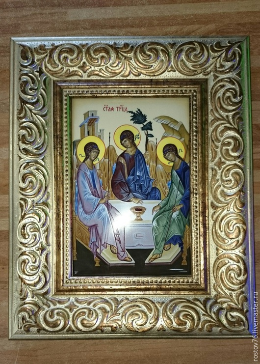 Иконы ручной работы. Ярмарка Мастеров - ручная работа. Купить Икона Святая Троица. Handmade. Разноцветный, троица, ВИП подарок