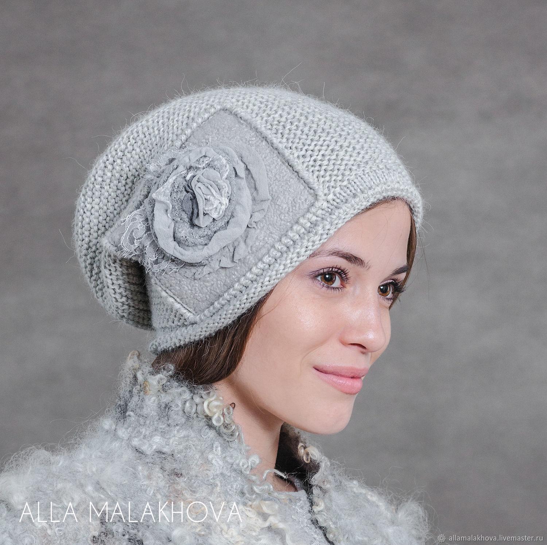 Вязаная шапка Серебряная Роза, Шапки, Самара,  Фото №1