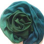 Аксессуары ручной работы. Ярмарка Мастеров - ручная работа Шарф зеленый шелковый. Handmade.