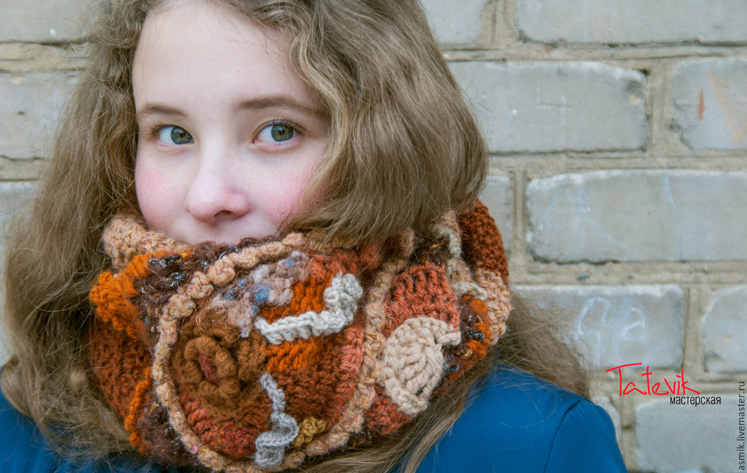 Knitted scarf Snood 'Fantasy in Terra cotta color' free forms, Scarves, Moscow,  Фото №1