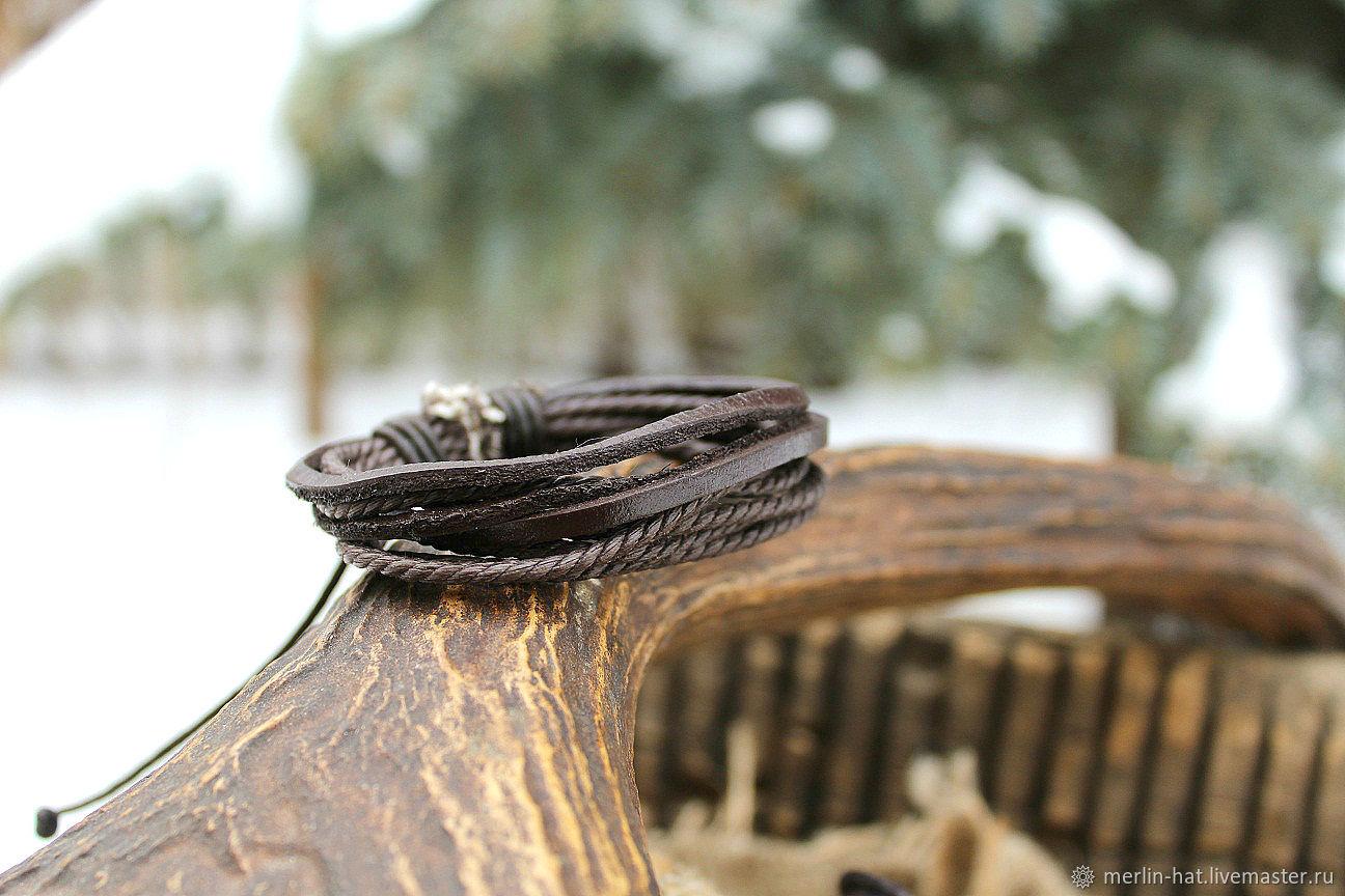 Leather friendship bracelet 'Triple', Bead bracelet, Tambov,  Фото №1