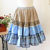 Одежда ручной работы. Ярмарка Мастеров - ручная работа Ярусная юбка из натуральных тканей. Handmade.