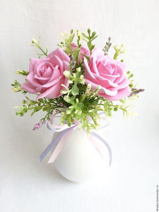 Интерьерные композиции ручной работы. Ярмарка Мастеров - ручная работа. Купить Минибукетик с розами. Handmade. Розовый, роза ручной работы