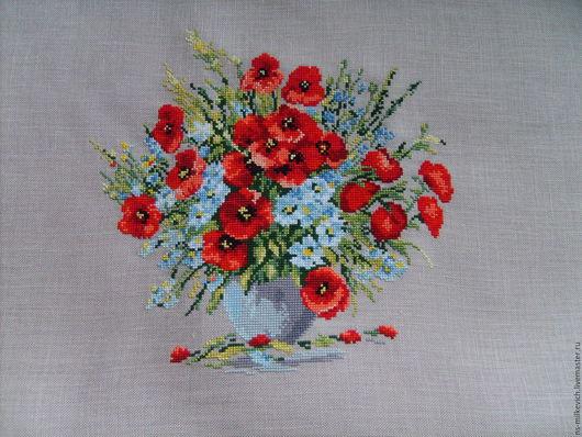 """Картины цветов ручной работы. Ярмарка Мастеров - ручная работа. Купить вышивка """"маки"""". Handmade. Комбинированный, маки, красный"""