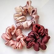 Украшения handmade. Livemaster - original item Set of 3 hair bands made of 100% silk with manual coloring. Handmade.