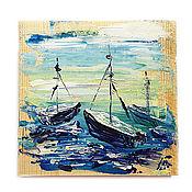 Картины и панно ручной работы. Ярмарка Мастеров - ручная работа Морское утро, декоративное деревянное панно. Handmade.