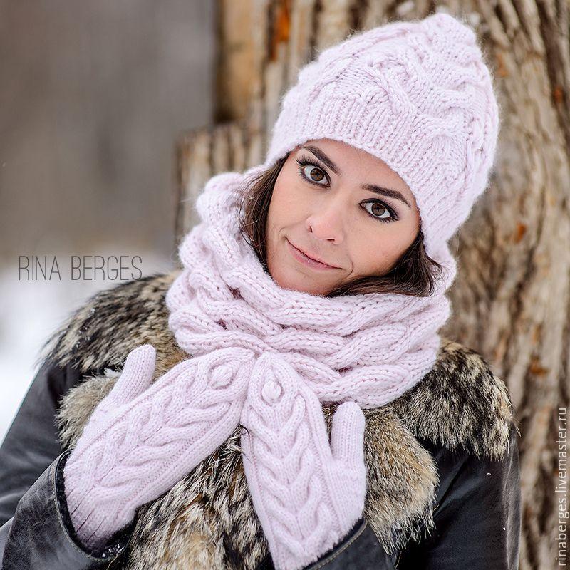 Женский комплект: шапка шарф спицами 3