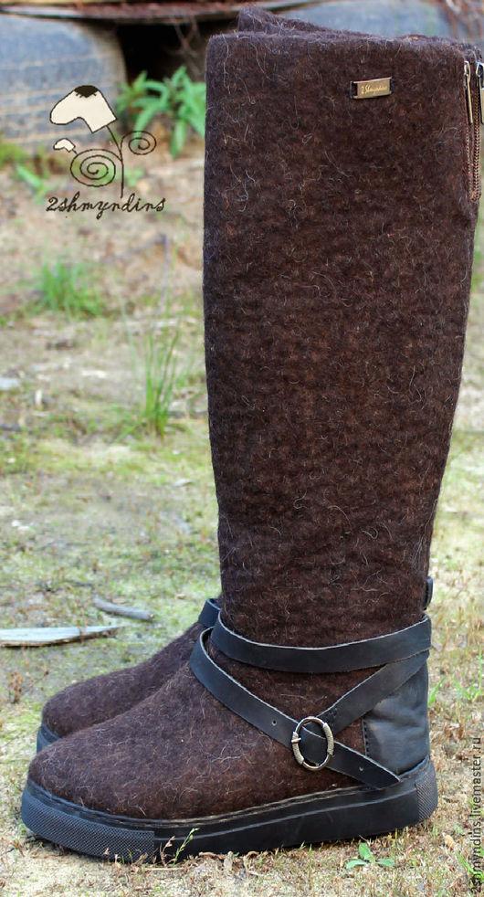 Обувь ручной работы. Ярмарка Мастеров - ручная работа. Купить валяные сапоги Горький шоколад. Handmade. Коричневый, валенки