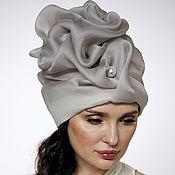 Аксессуары handmade. Livemaster - original item Smoky silk organza turban with a bead Pearl. Handmade.