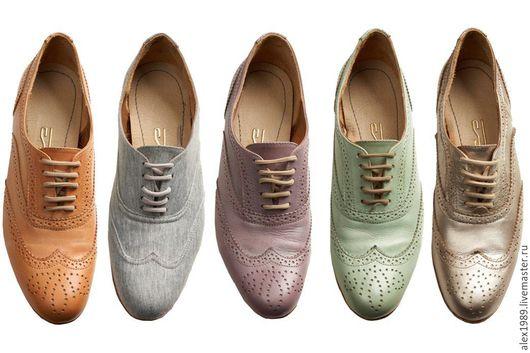 Обувь ручной работы. Ярмарка Мастеров - ручная работа. Купить Женские броуги. Handmade. Комбинированный, туфли, обувь женская