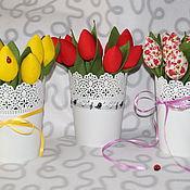 Подарки к праздникам ручной работы. Ярмарка Мастеров - ручная работа тюльпаны из ткани. Handmade.