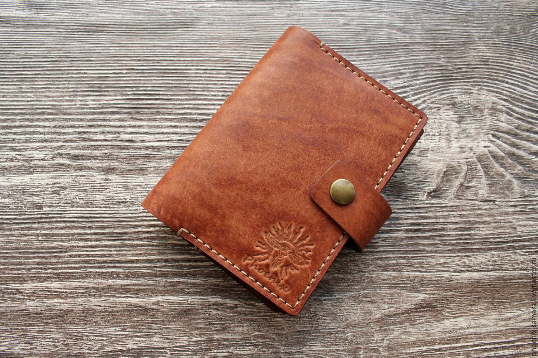 Купить Портмоне для автодокументов и паспорта Рыжее - рыжий, обложка для документов, обложка для паспорта, обложка из кожи