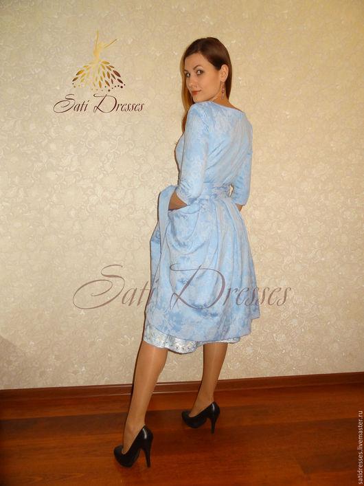 Платья ручной работы. Ярмарка Мастеров - ручная работа. Купить Платье-миди голубое ажурное. Handmade. Голубой, с поясом, на осень