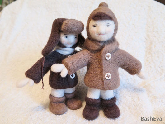 Человечки ручной работы. Ярмарка Мастеров - ручная работа. Купить Малыши Оля и Борька, игрушки из шерсти. Handmade. Малыши