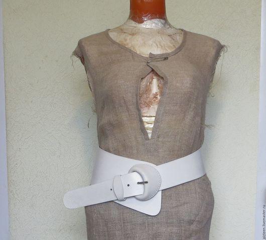 Пояса, ремни ручной работы. Ярмарка Мастеров - ручная работа. Купить Белый асимметричный пояс.. Handmade. Белый, ремень кожаный