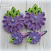Работы для детей, handmade. Livemaster - original item Hair bands BlackBerry in the technique of kanzashi. Handmade.