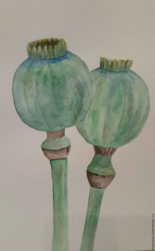 Картины цветов ручной работы. Ярмарка Мастеров - ручная работа. Купить Маковые коробочки. Handmade. Мак, зеленый, рисунок