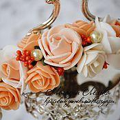 Работы для детей, ручной работы. Ярмарка Мастеров - ручная работа Ободок с цветами (персиковые розы). Handmade.
