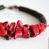 Украшения handmade. Livemaster - original item Necklace Wild coral, choker with coral and coconut, short red necklace. Handmade.