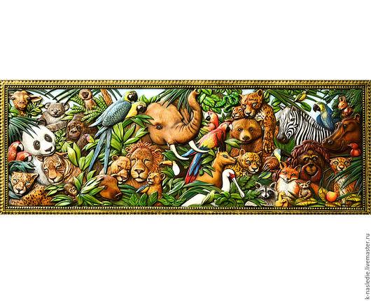 Животные ручной работы. Ярмарка Мастеров - ручная работа. Купить Картина в детскую комнату Джунгли зовут (резное панно животные). Handmade.