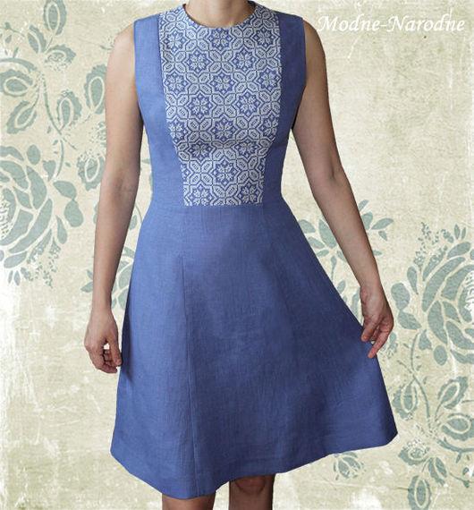 Льняное платье с ручной вышивкой Волошка.\r\nМодная одежда с ручной вышивкой. \r\nТворческое ателье Modne-Narodne.