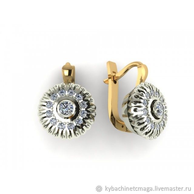 Earrings 'Maria' silver with gold and rhodium, Earrings, Moscow,  Фото №1