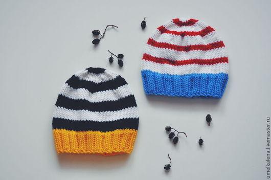 Шапки и шарфы ручной работы. Ярмарка Мастеров - ручная работа. Купить Детские шапки в полоску. Handmade. Разноцветный, шапка для мальчика