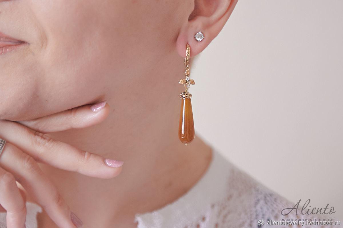 Elegant earrings with honey agate in 24K gold, Earrings, Moscow,  Фото №1