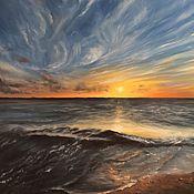 Картины и панно ручной работы. Ярмарка Мастеров - ручная работа Закат на море. Масло. Handmade.