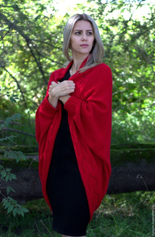 Кофты и свитера ручной работы. Ярмарка Мастеров - ручная работа. Купить Накидка Малиновый щербет-вязаная накидка, кардиган, свободный стиль. Handmade.