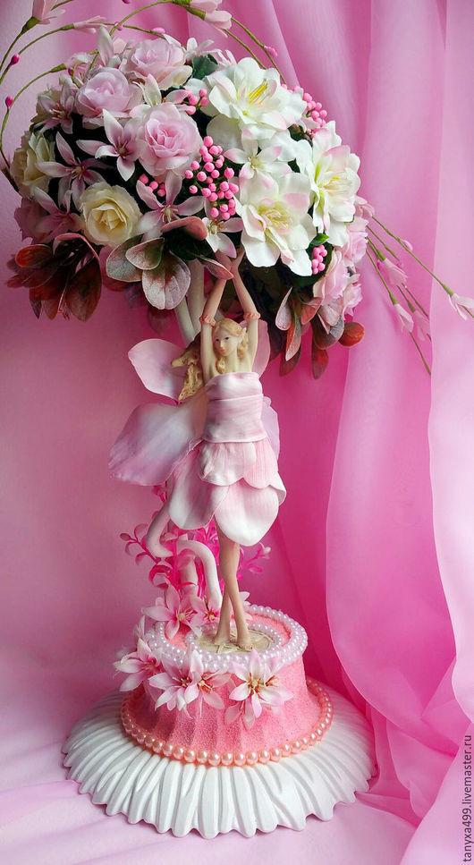 """Топиарии ручной работы. Ярмарка Мастеров - ручная работа. Купить Топиарий """"Розовый рай"""". Handmade. Бледно-розовый, искусственные цветы"""