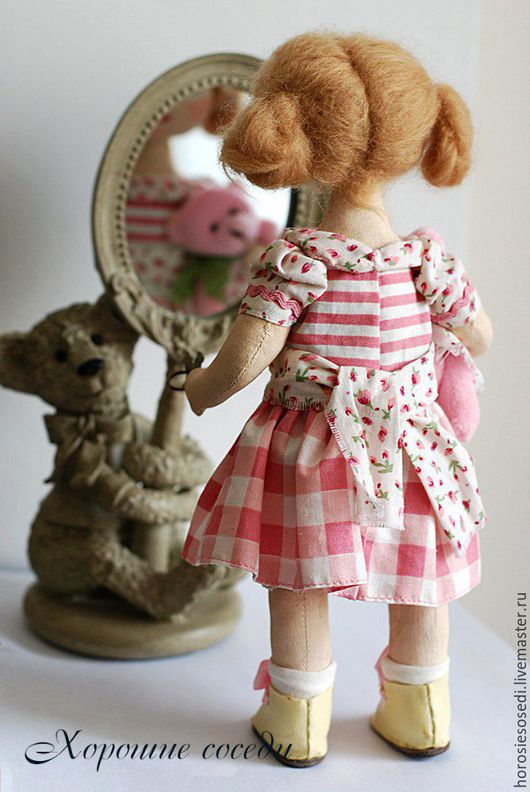 Коллекционные куклы ручной работы. Ярмарка Мастеров - ручная работа. Купить Маша и Мишутка. Handmade. Рзовый, красивая кукла, поплин