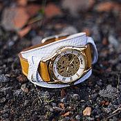 Украшения handmade. Livemaster - original item Wrist transparent watch 2in1 yellow with white on a wide leather strap. Handmade.