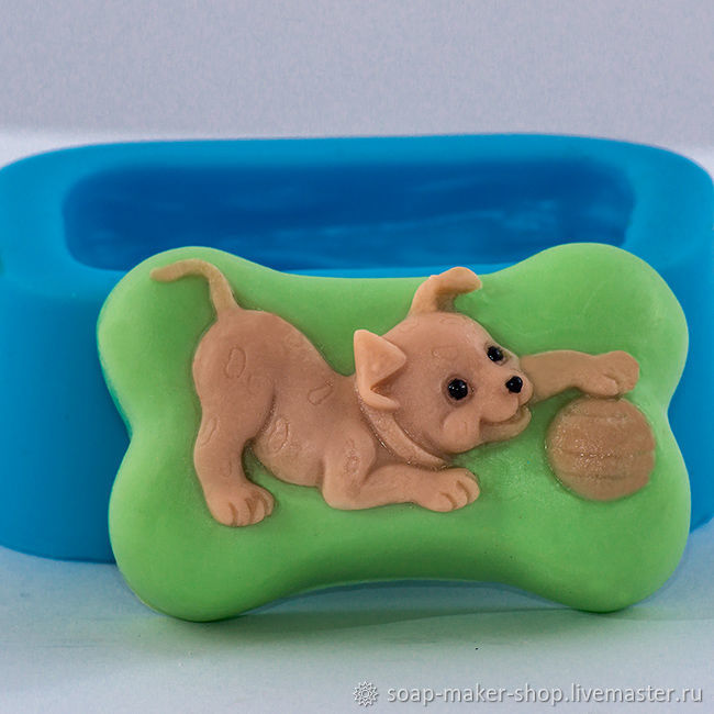 Silicone mold for soap 'Puppy with ball 2D', Form, Shahty,  Фото №1