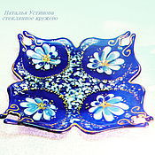 Посуда handmade. Livemaster - original item Plate glass Blue handkerchief, glass fusing. Handmade.