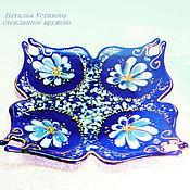 Посуда ручной работы. Ярмарка Мастеров - ручная работа Тарелка стеклянная Синий платочек, стекло фьюзинг. Handmade.