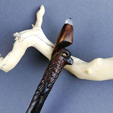 Украшения ручной работы. Ярмарка Мастеров - ручная работа Волшебная палочка с кристаллом кварца ястреб шпилька для волос. Handmade.