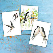 Открытки handmade. Livemaster - original item Swallows greeting Cards Set 3 PCs. Handmade.
