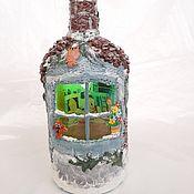 Сувениры и подарки handmade. Livemaster - original item Bottle-house with lighting new year