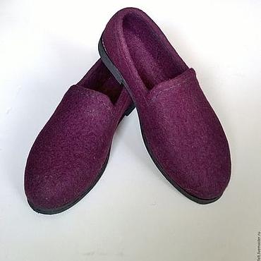 """Обувь ручной работы. Ярмарка Мастеров - ручная работа Валяные туфли """"Темно-вишневые"""". Handmade."""