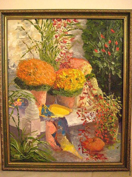 Картины цветов ручной работы. Ярмарка Мастеров - ручная работа. Купить Картина масло Цветы в саду. Handmade. Картина маслом