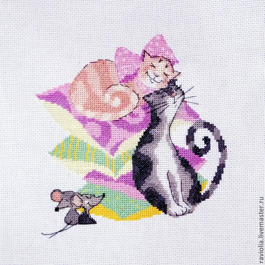 Животные ручной работы. Ярмарка Мастеров - ручная работа. Купить Кошки-мышки. Вышитая картина. Handmade. Кошки-мышки, мышки