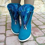 Обувь ручной работы. Ярмарка Мастеров - ручная работа Шерстяные ботиночки Ирисы бирюзовые. Handmade.